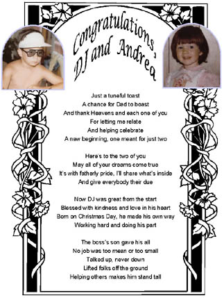 Customized lyric sheet for wedding toast from groom's father, page 1